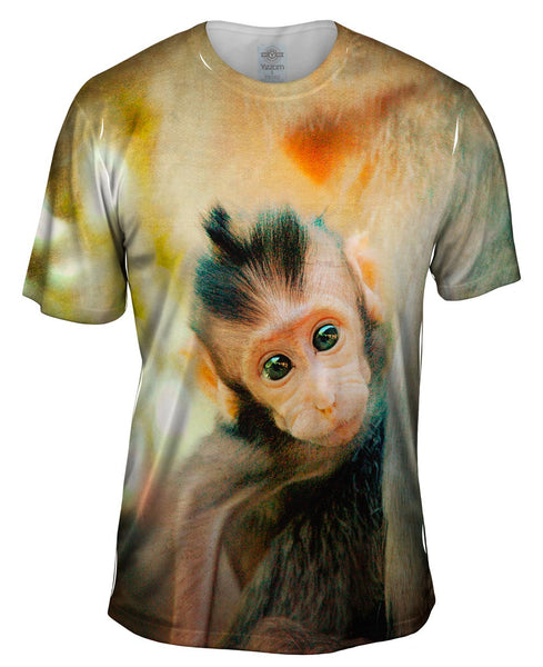 Curious Baby Monkey Mens T-Shirt