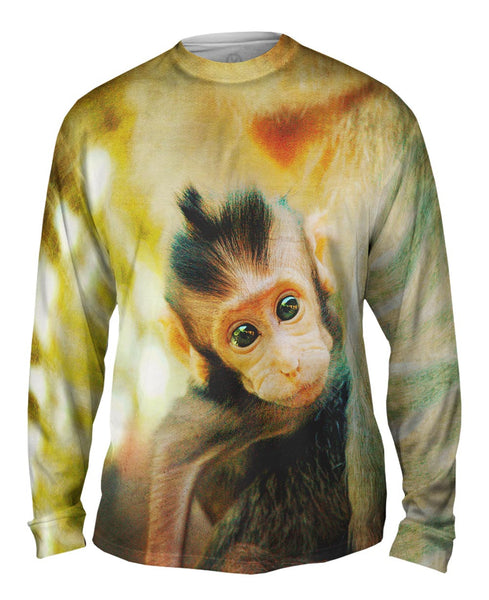 Curious Baby Monkey Mens Long Sleeve
