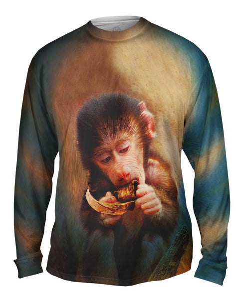 Banana Baby Monkey Mens Long Sleeve