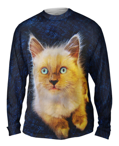 Blue Couch Kitten Mens Long Sleeve