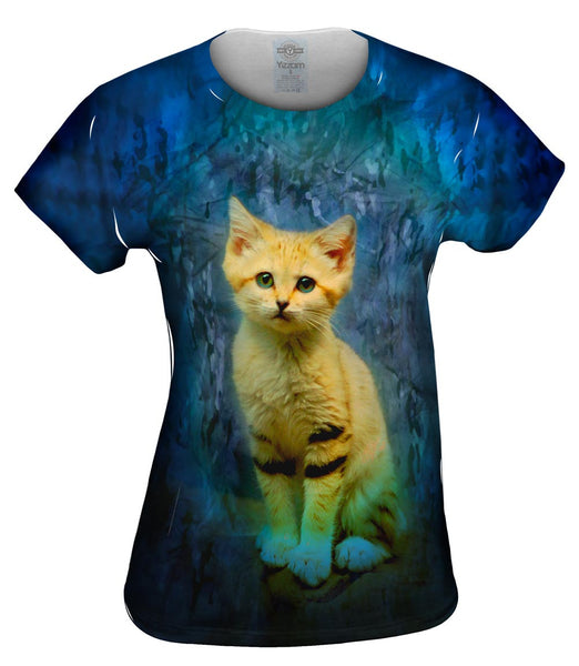 Blue Camo Kitten Womens Top