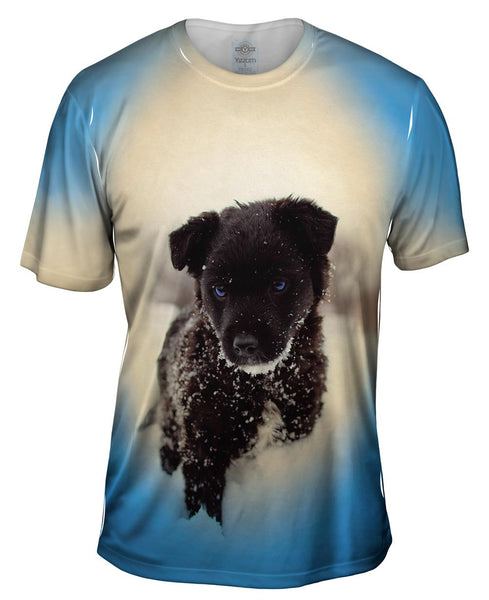 Black Wolf Puppy Mens T-Shirt