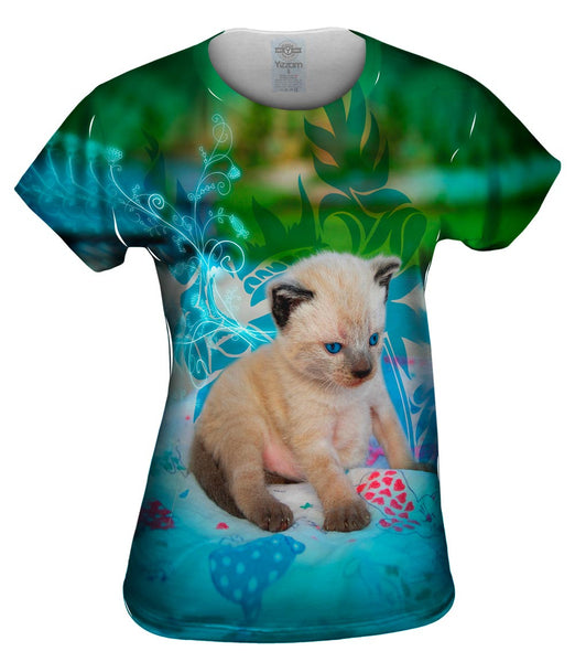 Blue Siamese Kitten Womens Top