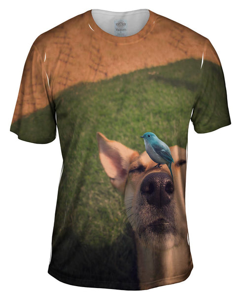 Blue Bird Dog Mens T-Shirt