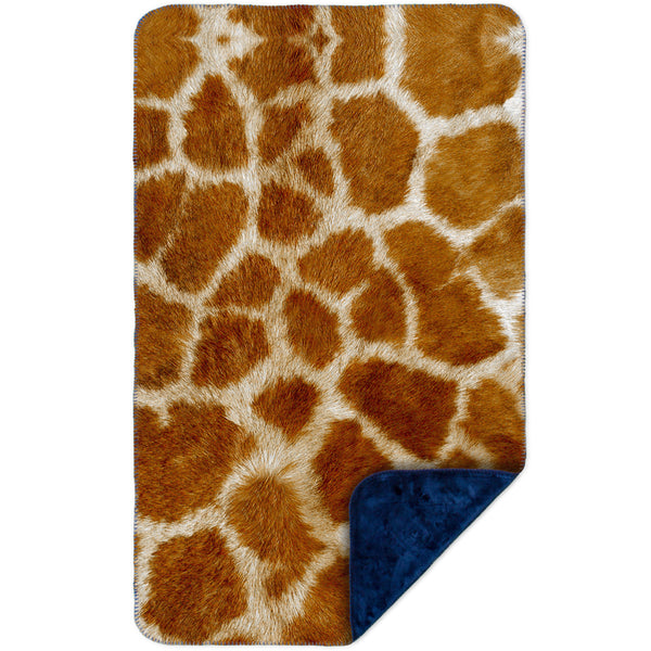 Giraffe skin MicroMink(Whip Stitched) Navy