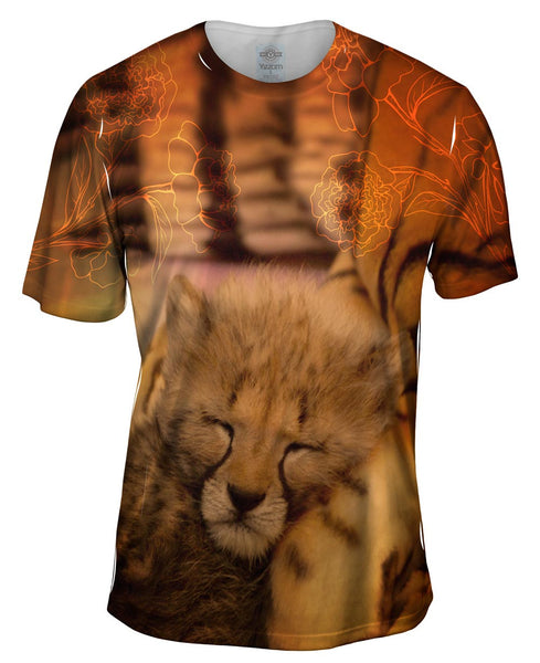 Sleeping Cheetah Kitten Mens T-Shirt