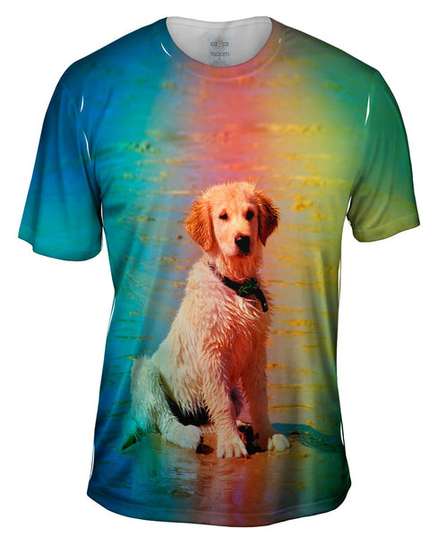 Beach Lab Puppy Mens T-Shirt