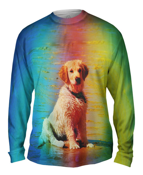 Beach Lab Puppy Mens Long Sleeve