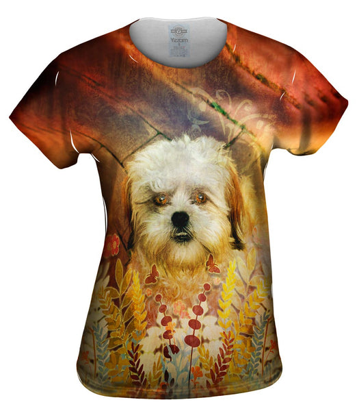 Shih Tzu Floral Puppy Womens Top