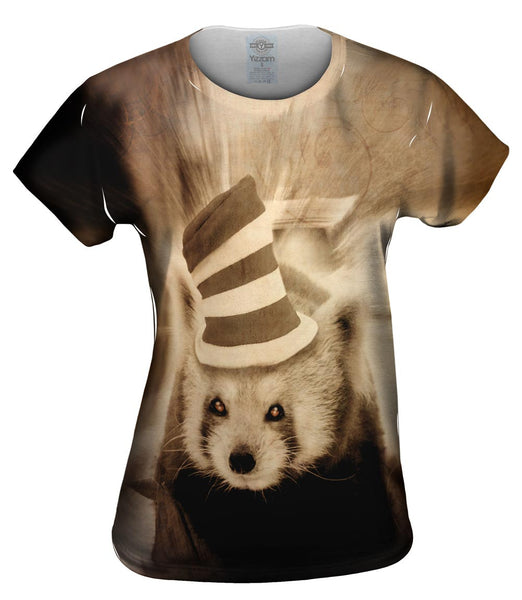 Crazy Hat Panda Womens Top