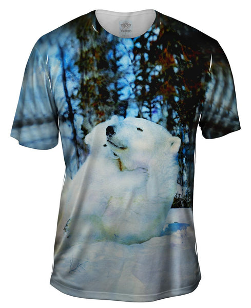 Blue Watercolor Polar Bear Mens T-Shirt