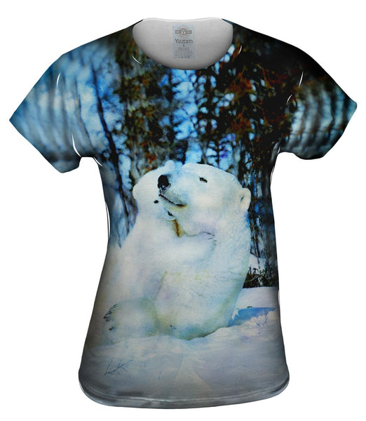 Blue Watercolor Polar Bear Womens Top