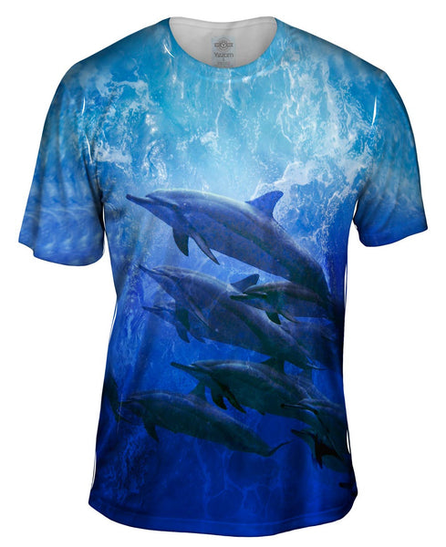 Blue Cool Dolphin Mens T-Shirt