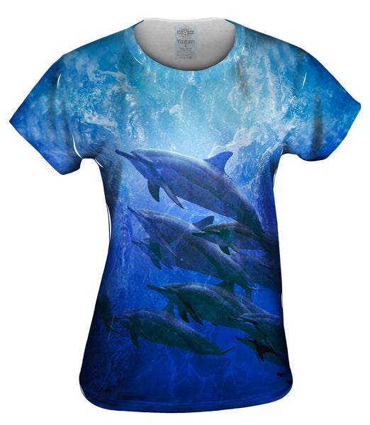 Blue Cool Dolphin Womens Top