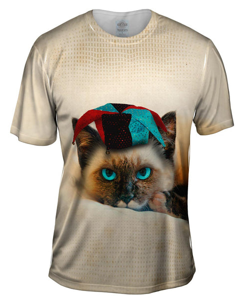 Siamese Party Cat Mens T-Shirt