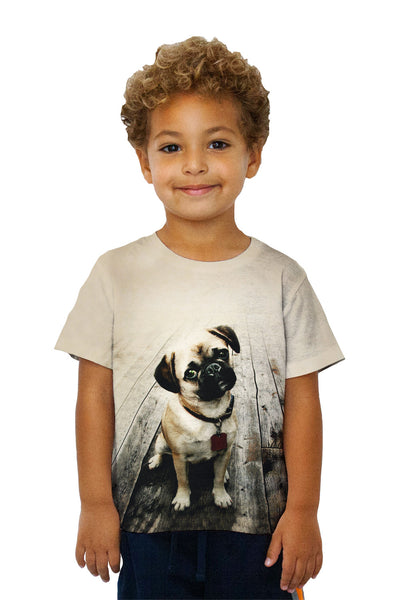 Kids Vintage Wood Pug Kids T-Shirt