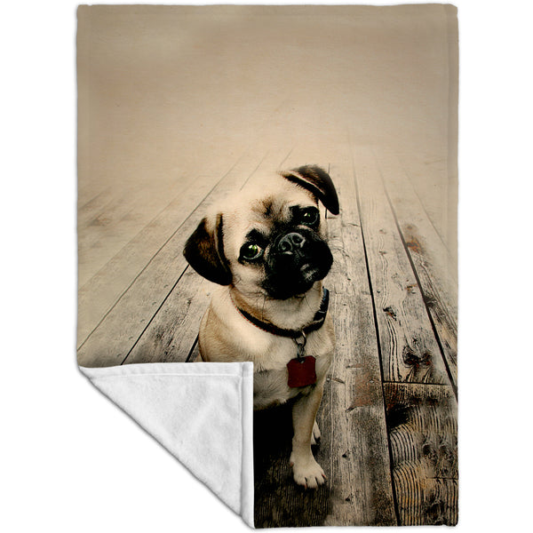 Vintage Wood Pug Fleece Blanket