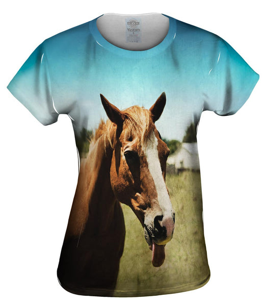 Funny Tongue Horse Womens Top