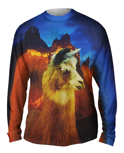 Andes Llama Sunset Mens Long Sleeve