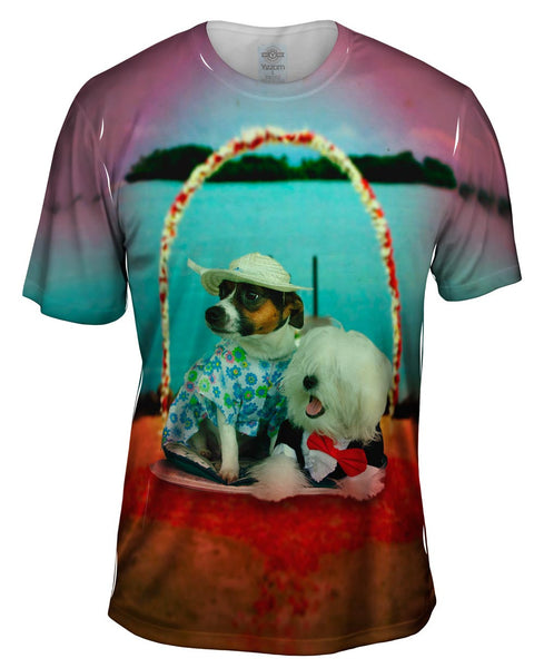 Beach Wedding Dogs Mens T-Shirt