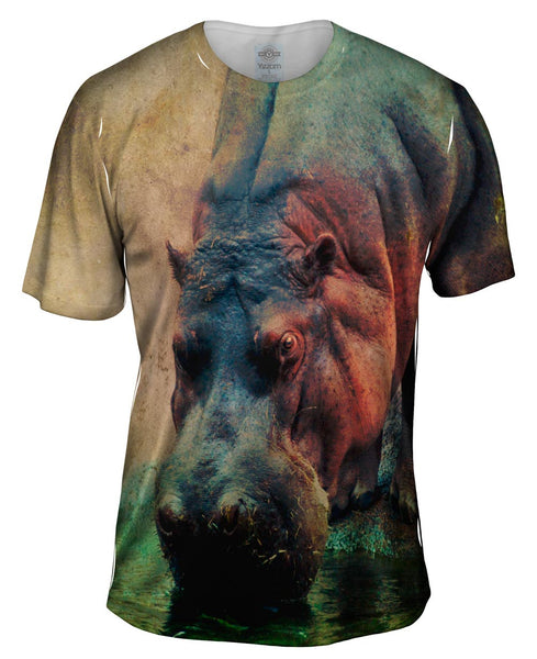 Drinking Hippo Mens T-Shirt