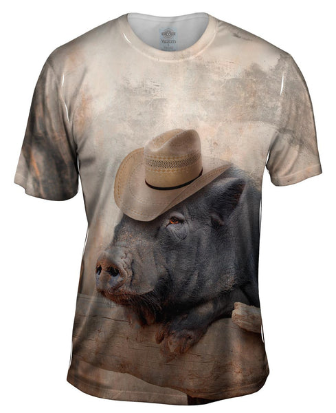 Cowboy Saloon Pig Mens T-Shirt