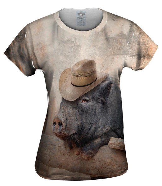 Cowboy Saloon Pig Womens Top