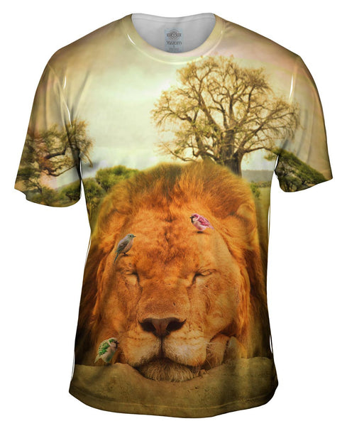 Sleeping Lion And Birds Mens T-Shirt