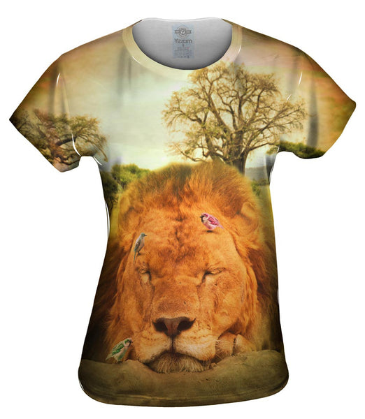 Sleeping Lion And Birds Womens Top