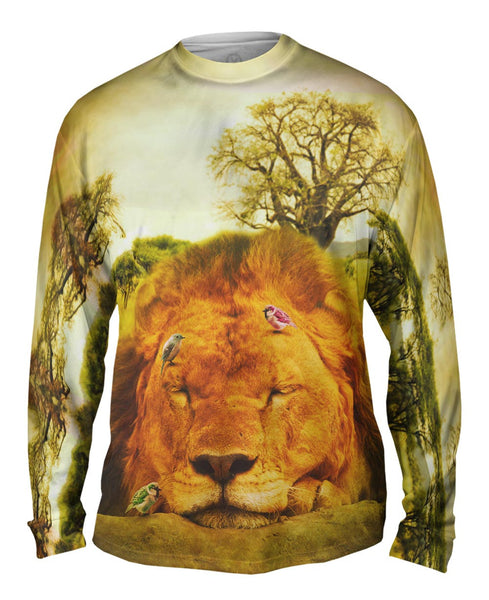 Sleeping Lion And Birds Mens Long Sleeve