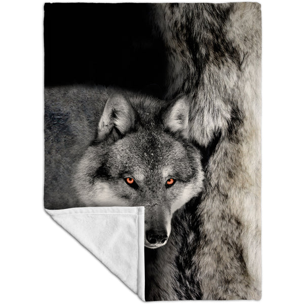 Gray Wolf Half Skin Fleece Blanket