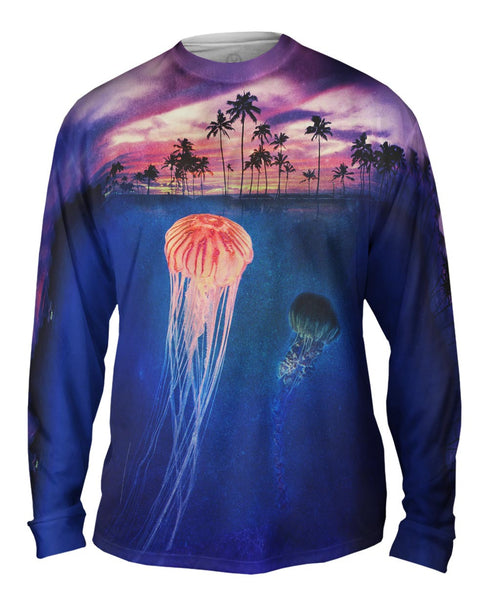 Jellyfish Sky Palm Tree Mens Long Sleeve