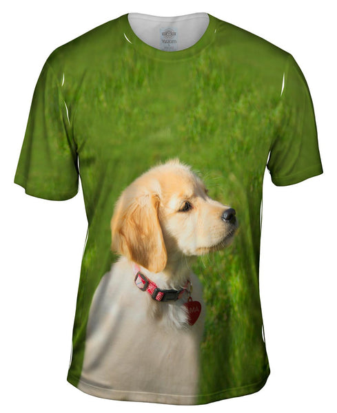 Dreamy Yellow Labrador Puppy Mens T-Shirt
