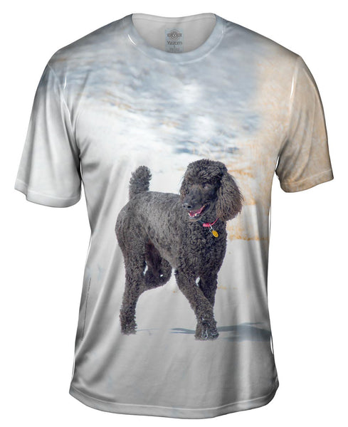 Smokey Poodle In The Snow Mens T-Shirt