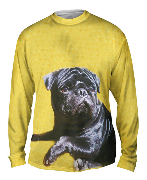 Black Pug Relaxation Mens Long Sleeve