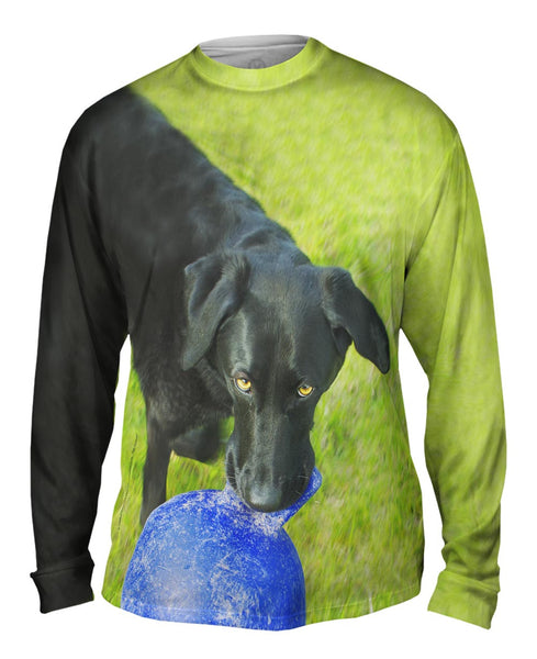 Black Lab And His Ball Mens Long Sleeve