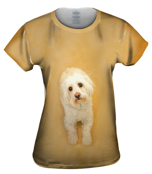 Sad White Puppy Womens Top