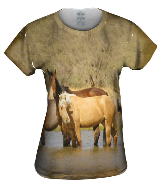 Horses At Stream Womens Top