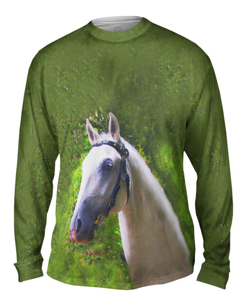 Dreamy Ghost White Paso Fino Horse Mens Long Sleeve