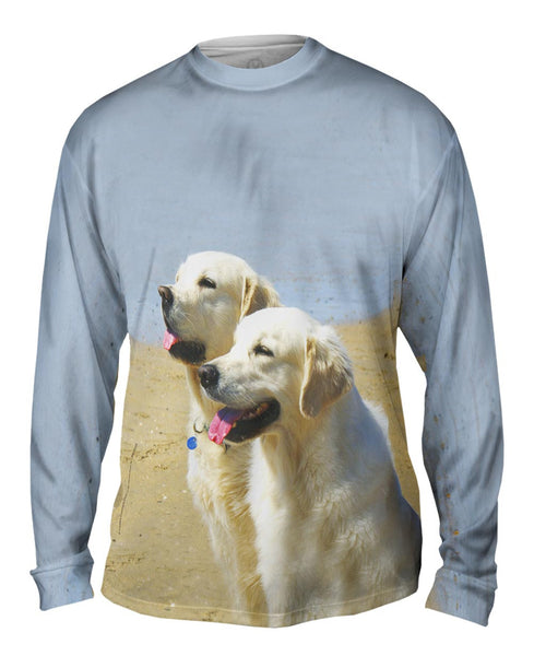 Golden Labs At Beach Mens Long Sleeve