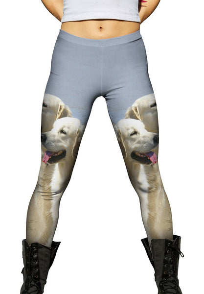 Golden Labs At Beach Womens Leggings