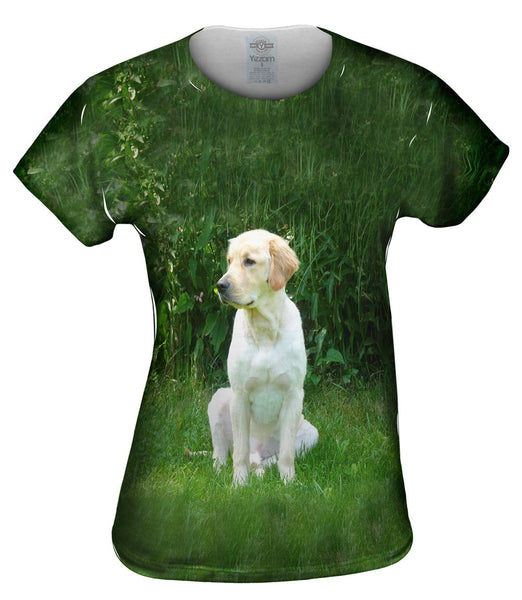 Golden Lab In Garden Womens Top