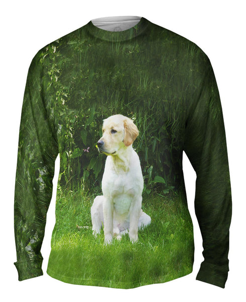 Golden Lab In Garden Mens Long Sleeve