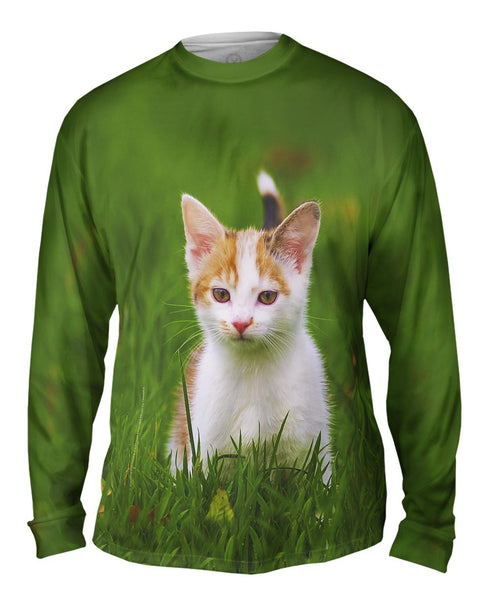 Cute As A Button Kitty Cat Mens Long Sleeve