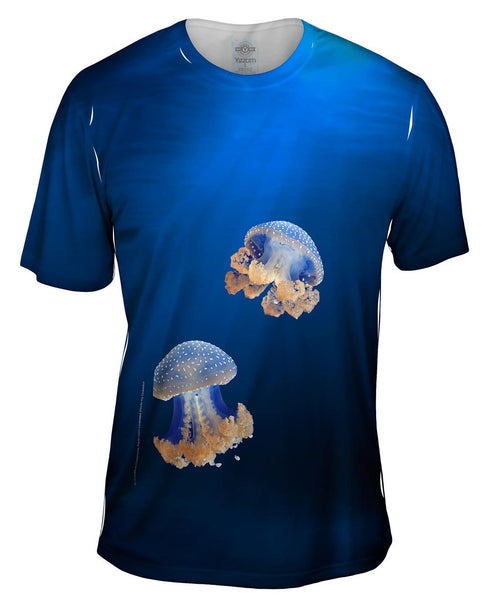 Blue Jellyfish Rise Underwater Mens T-Shirt