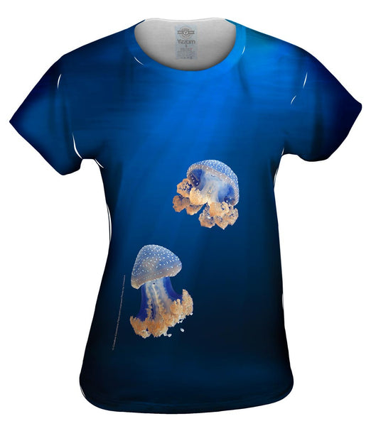 Blue Jellyfish Rise Underwater Womens Top