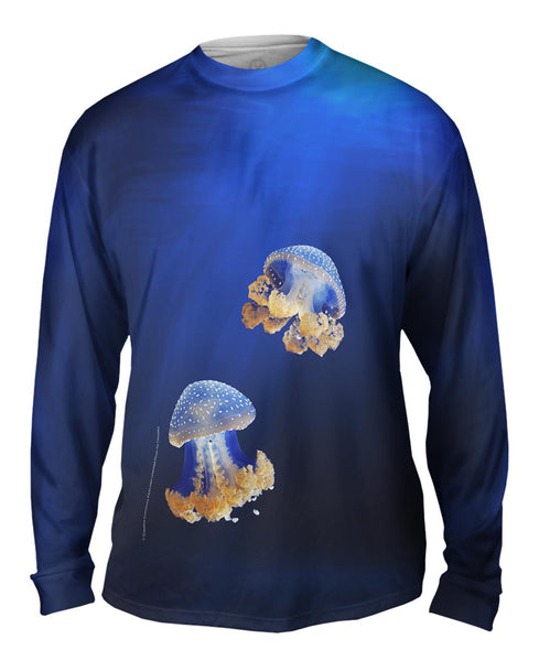 Blue Jellyfish Rise Underwater Mens Long Sleeve