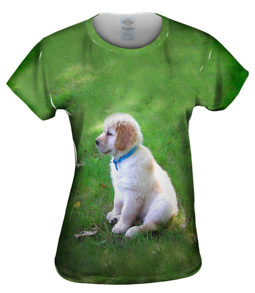 Golden Lab Puppy In Thought Womens Top