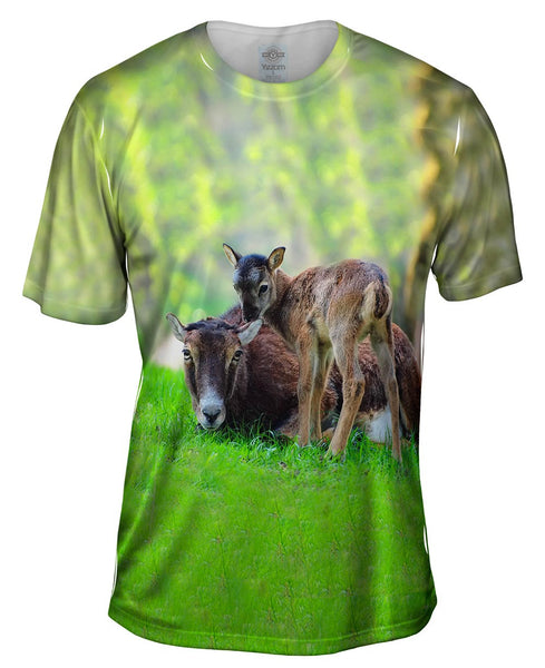 Happy Goat Family Mens T-Shirt