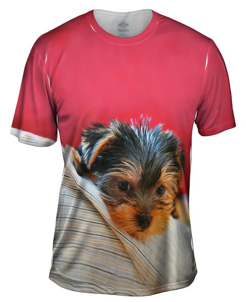 Yorkie On Bed Mens T-Shirt